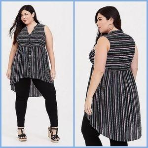 Torrid plus size 2X Lexie stripe Georgette tunic